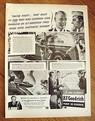 1943 B F Goodrich Tire Ad  This Grocer Knows