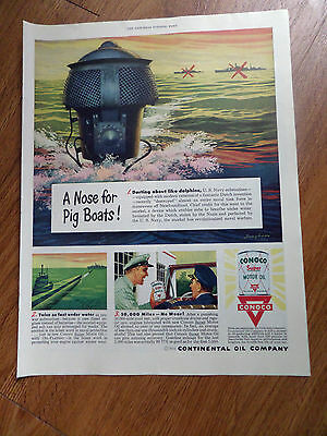 1950 Conoco Continental Oil Company Ad A Nose for Pig Boats Snorkel Submarines