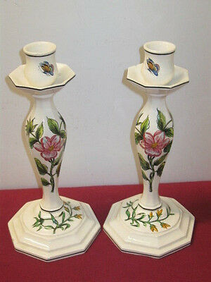 Art Pottery (Italy), Hand Painted Candlesticks  --  Pair