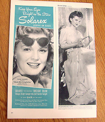 1947 Solarex Sun Glasses Ad  Movie Hollywood Star June Haver