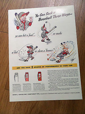 1938  Ethyl Gasoline Ad      Baseball Theme
