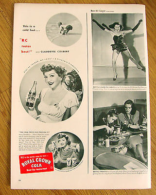 1947 RC Royal Crown Cola Ad Movie Hollywood Star Claudette Colbert