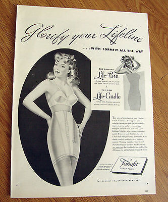 1946 Life Formfit Bra Girdle Ad Glorify Your Lifeline