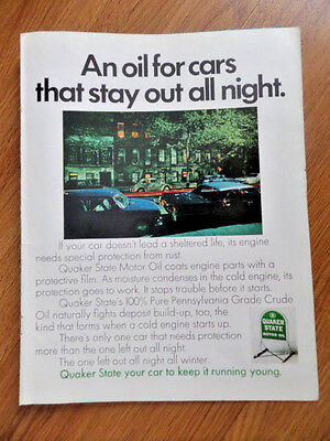 1968 Quaker State Oil Ad An Oil for cars that stay out all night  VW Volkswagen