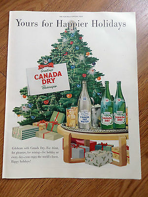 1950 Canada Dry Soda Pop Ad Yours for Happier Holidays Christmas Theme