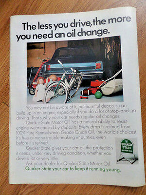 1968 Quaker State Oil Ad Less you Drive The More You need an Oil Change Ford?