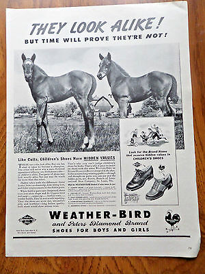 1941 Peters Weather-Bird Diamond Shoe Shoes Ad Horses Colts