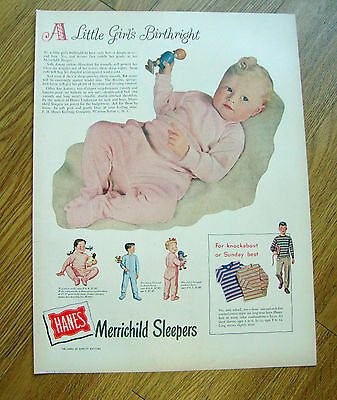 1948 Hanes Merrichild Sleeper Ad Bady Girl's Birthright
