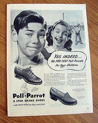 1945 Poll-Parrot Shoes Ad  Playing baseball Theme