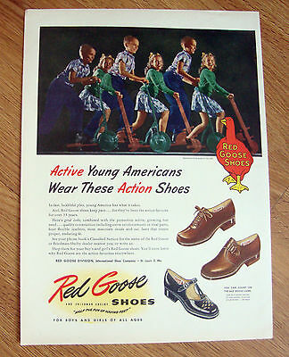 1946 Red Goose Shoes Shoe Ad Active Young Americans Riding Scooters