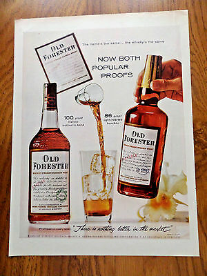 1960 Old Forester Whiskey Ad  Now Both Popular Proofs