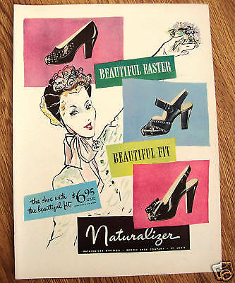 1946 Naturalizer Shoe Shoes Ad Beautiful Easter