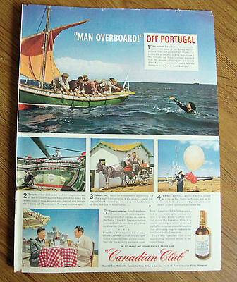 1946 Canadian Club Whiskey Ad Fishing Barco off Portugal