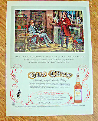 1956 Old Crow Whiskey Ad Bret Harte Mark Tawin's Home