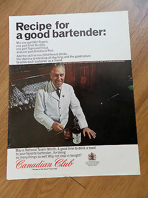 1965 Canadian Club Whiskey Ad Recipe for Good Bartender