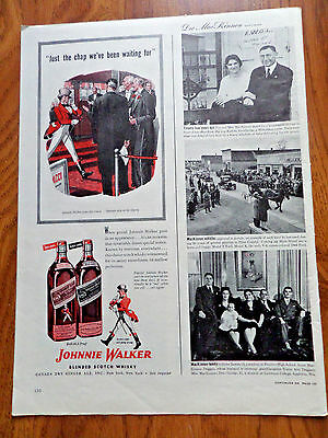 1945 Johnnie Walker Scotch Whiskey Whisky Ad  the Chap we've been Waiting For