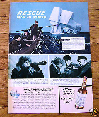 1941 Canadian Club Whiskey Ad Rescue from Iceberg
