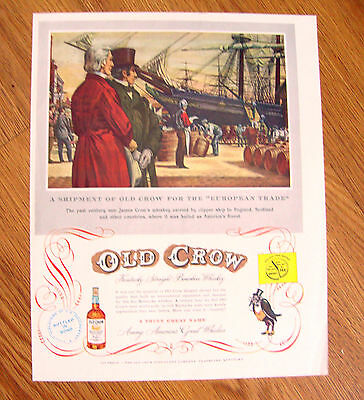 1951 Old Crow Whiskey Ad Clipper Ship to England