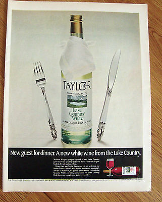 1968 New York State TAYLOR Wine Ad Lake Country White