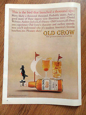 1964 Old Crow Whiskey Ad Sailing Theme This is the Bird that Lawnched 1000 Sips
