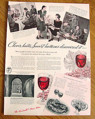 1940 Wines of California Ad  Clever Hosts Smart Hostesses