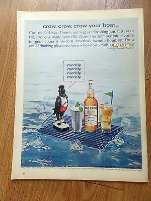 1965 Old Crow Whiskey Ad Crow Crow Crow your Boat