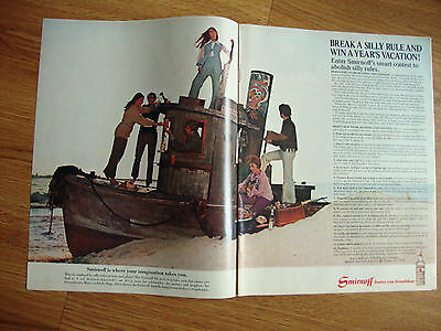 1970 Smirnoff Vodka Ad  Deserted Shipwreck Win a Year's Vacation
