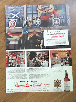 1953 Canadian Club Whiskey Ad Coronation Curtain Time