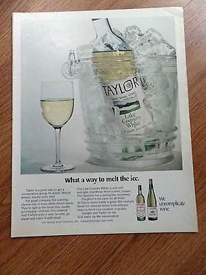 1970 New York State TAYLOR Wine Ad Lake Country White What a Way to Melt the Ice