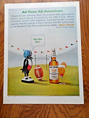 1965 Old Crow Whiskey Ad All Time All American Football Theme
