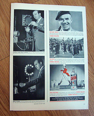 1939 Johnnie Walker Scotch Whiskey Ad  The Kilt & the Bagpipes