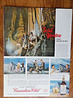 1950 Canadian Club Whiskey Ad Rock Gilbraltar Caverns St. Michael's Cave