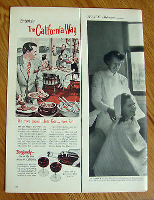 1951 The California Way with Burgundy Wine Ad