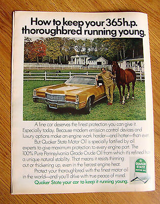 1971 Quaker State Motor Oil Ad  Your 365 H. P. Thoroughbred Running Young