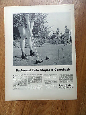 1937 Goodrich Ad Back-yard Polo Stages a Comeback   Croquet