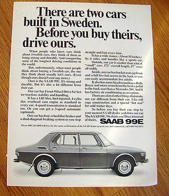 1971 SAAB 99E Ad  Two Cars Built in Sweden