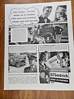 1943 B F Goodrich Tire Ad    Made With Synthetic Rubber