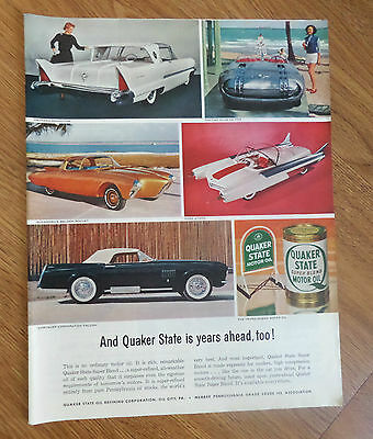 1956 Quaker State Oil Ad Experimental Packard Pontiac Olds Ford Chrysler Autos