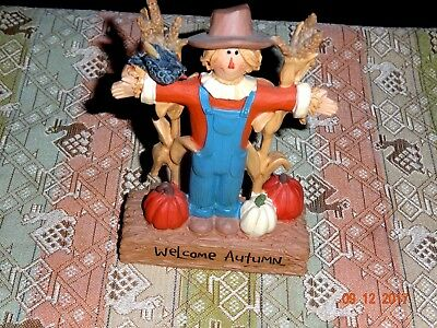 "New Blossom Bucket ""welcome Autumn Scarecrow With Cornstalks"
