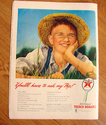 1942 Texaco Dealers Gas Oil Ad  You'll have to Ask My Pop