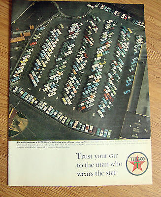 1963 Texaco Oil Ad Traffic Jam Forms at 5 PM