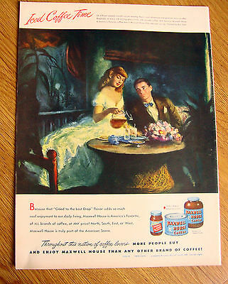 1948 Maxwell House Coffee Ad On A Flower scented Moonlit Summer Evening by Stahl