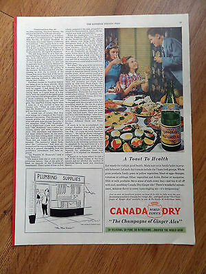 1945 Canada Dry Gingere Ale Ad   A Toast to Health