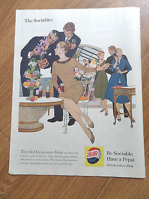 1959 Pepsi Cola Soda Ad The Sociables They Find Fun in Many Things Flowers