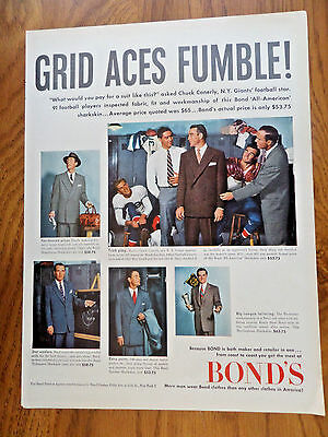 1951 Bond's Ad Chuck Conerly New York Giants Football