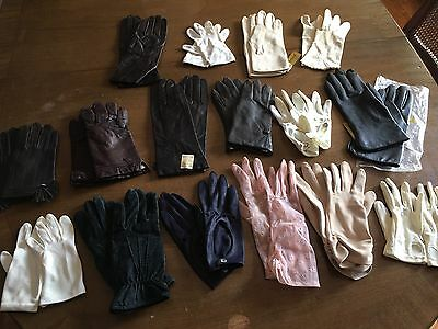 Vintage Ladies Gloves Lot 16 pairs Leather, Cotton, Knit Mixed