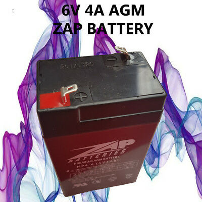 Brand New 6V 4.0Ah Zap Agm Rechargable Battery 6Volt 4Ah ** Toy Electric