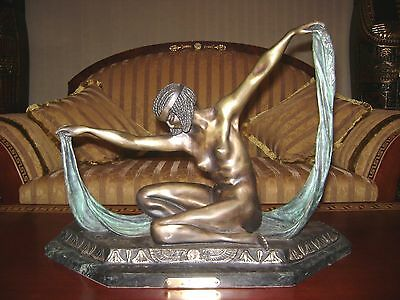 Vintage Egyptian Goddess Isis (Aset) Metal Bronze Sculpture Statue By: Colinet.