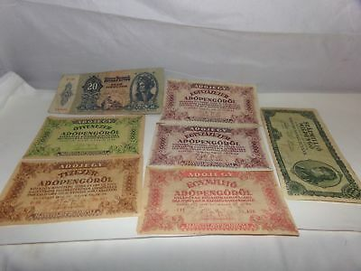7 PC HUNGARY PAPER MONEY-OLD-1940s-ADOJEGY-BANKNOTES-1941-1946-NR!