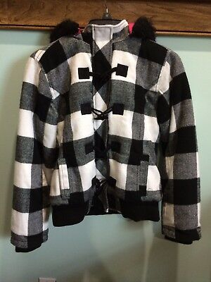 Justice Girls Black White Plaid Winter Jacket With Hoodie Size 12-14